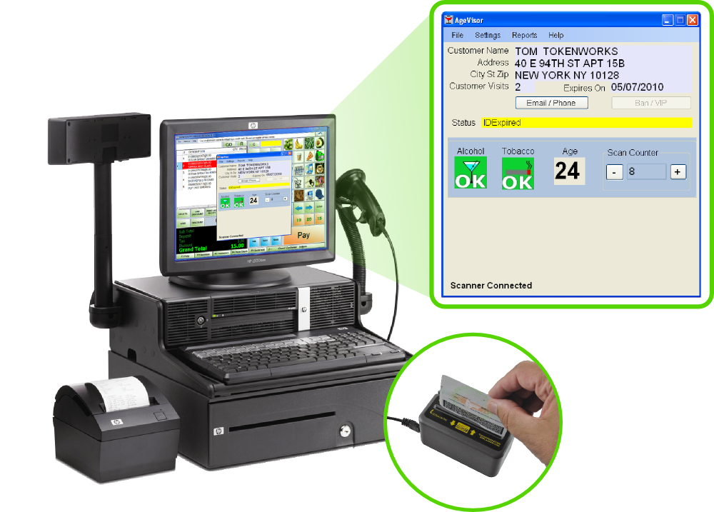 AgeVisor POS ID Scanner with m260 Scanner