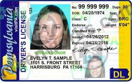Old Pennsylvania Driver's License Design